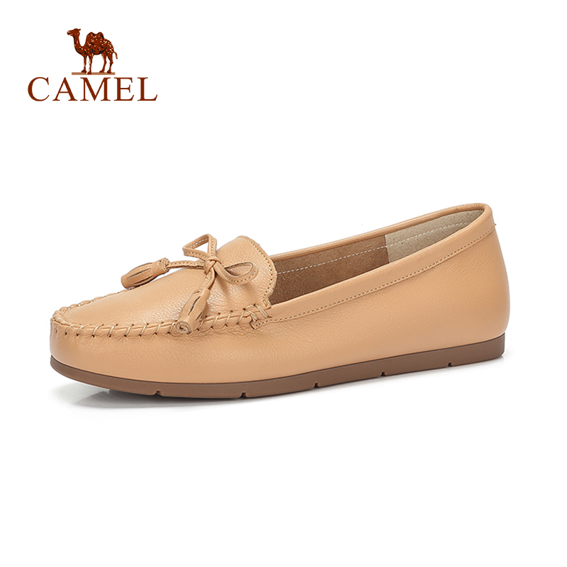 CAMEL New Women Fashion Casual Single Flat Shoes Women Leather Soft Shallow Shoes For Ladies Low