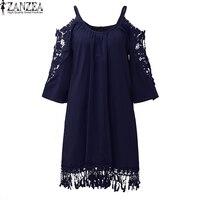 Plus Size 2017 ZANZEA Women Summer Lace Off Shoulder Spaghetti Strap Elegant Vestido Hollow Out Losse