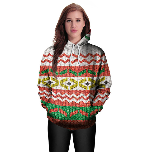Funny 3D Ugly Christmas Hoodies for Women and Men Fair Isle Argyle ...