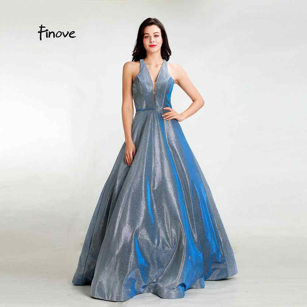 Finove Elegant Evening Dresses 2019 New Sexy Deep V Neck Simple A Line Reflective Dress Formal Gowns For Woman robe de soiree