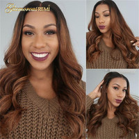 Body Wave Wig Brazilian Lace Front Ombre Human Hair Wigs For Women Black Color Pre Plucked With Natural Hairline Bleached Knots