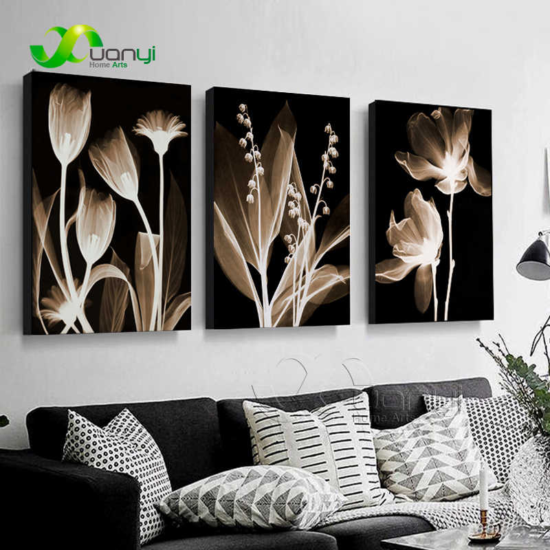 3 Panels Canvas Flower Painting Home Decoration Living Room Flower Painting For Wall Art Picture Poster And Prints Unframed