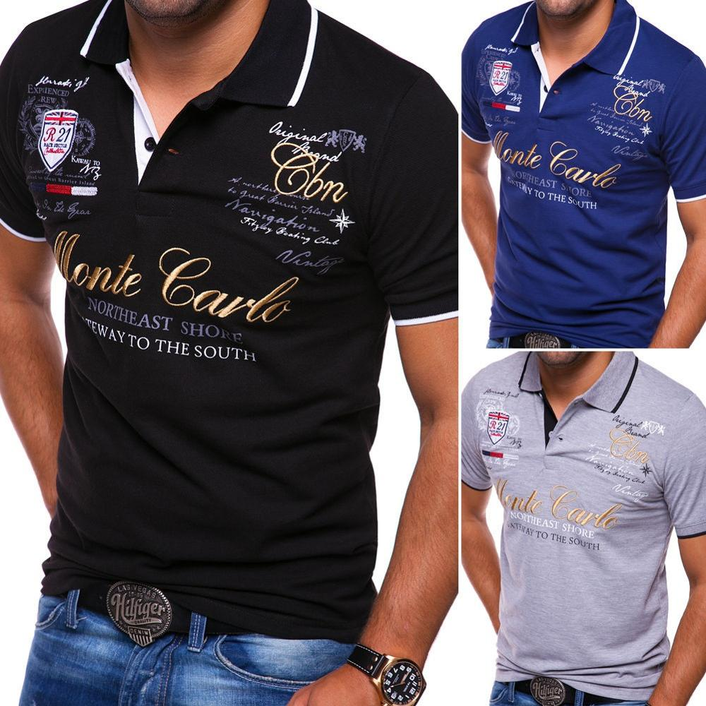 Men's Fashion Personality Cultivating Short-sleeved   Polo   Shirts