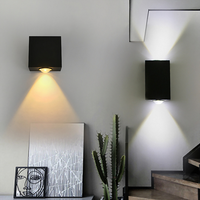 Square Aluminum Wall Lamps Surface Mounted 2w 3w 6w Ed Light Bedside Home Bar Ktv Indoor Lighting