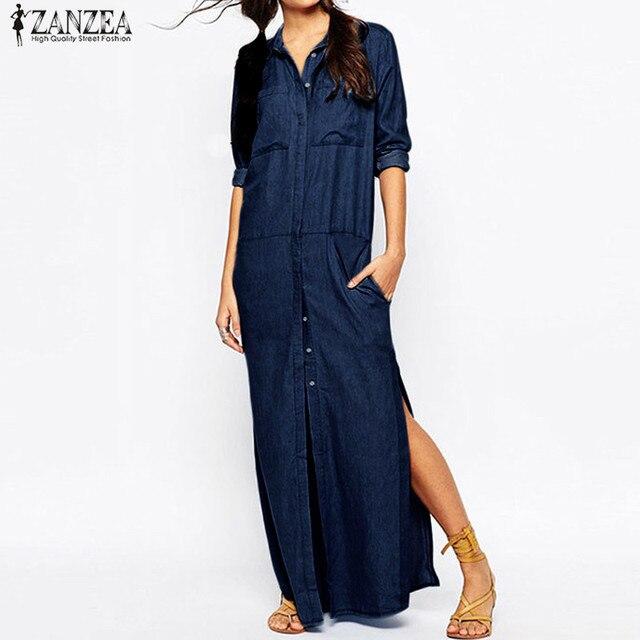 fdf66a4ff2 Plus Size ZANZEA Denim Blue Buttons Long Shirt Dress Women Turn-down Collar  Long Sleeve Casual Loose Split Maxi Vestido 2018