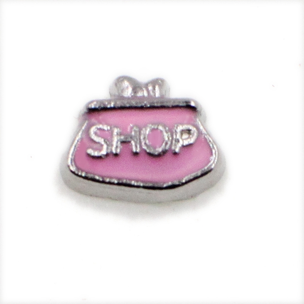 20PCS Pink SHOP BAG Alloy Floating Charms Fit Glass Locket Charms DIY Jewelry Accessories