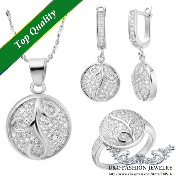 a7777fdfb9716 Uloveido moda conjuntos de jóias de cor prata cubic zirconia flor de  cristal de prata para o casamento frete grátis alta qualidade t141