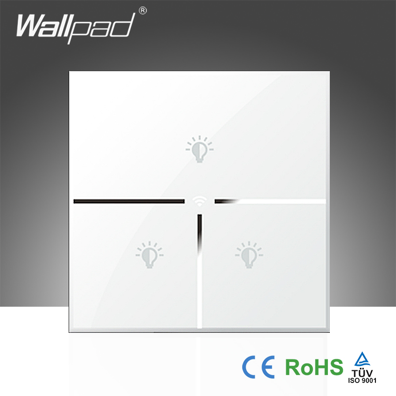 Hot Sales Wallpad White Glass LED Light UK 110 250V 3 Gang Phone Wifi Wireless Remote