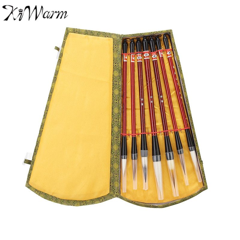 KiWarm New Arrival 7Pcs/Set Chinese Brush Pen Traditional Calligraphy Drawing Writing Painting Brushes with Gift Box Art Gift