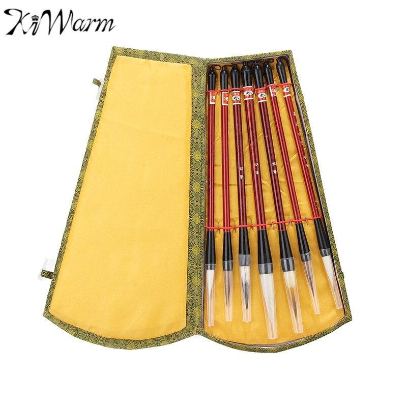 цены на KiWarm New Arrival 7Pcs/Set Chinese Brush Pen Traditional Calligraphy Drawing Writing Painting Brushes with Gift Box Art Gift в интернет-магазинах