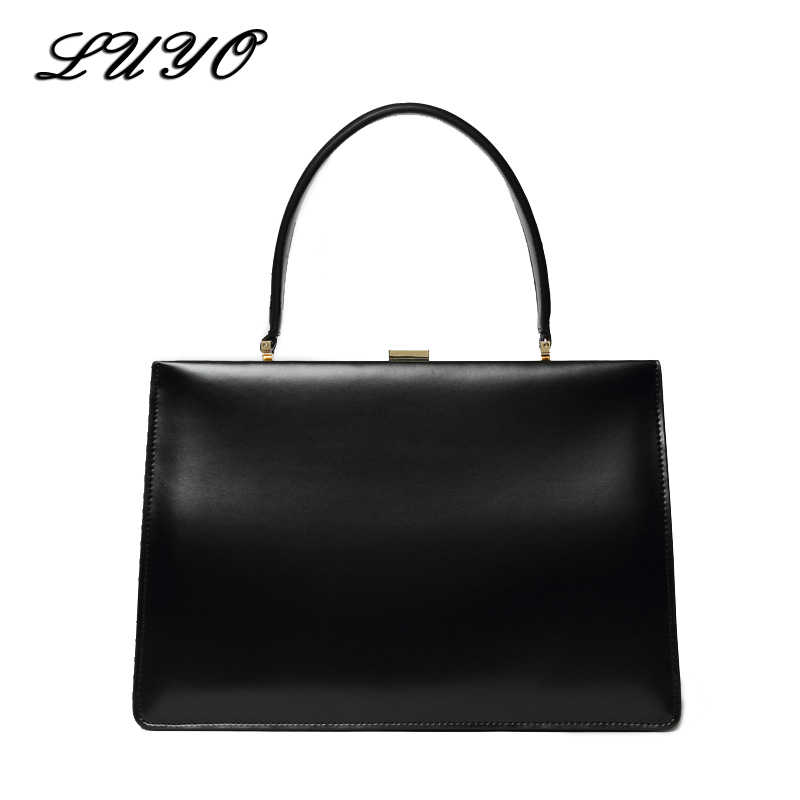 03e2726330 LUYO Solid Candy Genuine Leather Box Ladies Business Luxury Handbags Women  Bags Designer High Quality Top