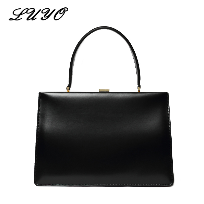 LUYO Solid Candy Genuine Leather Box Ladies Business Luxury Handbags Women Bags Designer High Quality Top-handle Tote Shoulder luyo vintage genuine leather ladies handbags casual hobos tassel women shoulder bag bolsa feminina designer tote high quality