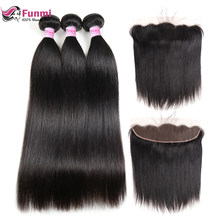 Funmi Straight Hair Bundles With Frontal 13x4 Indian Virgin Hair with Closure 3 Bundles with Frontal Closure 100% Human Hair(China)