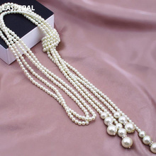 2017 FUNIQUE Fashion Imitation Pearl Long Tassels Necklace For Women Wedding Party Jewelry Statement Necklace & Pendants Jewelry(China)