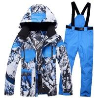 2019 Men Ski Suit Snowboard Jacket Pant Windproof Waterproof Outdoor Sport Wear Skiing Super Warm Clothing Trouser Male Suit Set