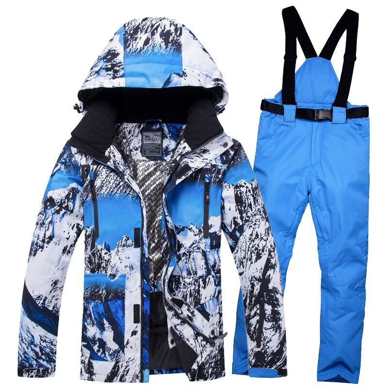 2019 hommes Ski costume Snowboard veste pantalon coupe-vent imperméable à l'eau en plein air Sport porter Ski Super chaud vêtements pantalon mâle costume ensemble
