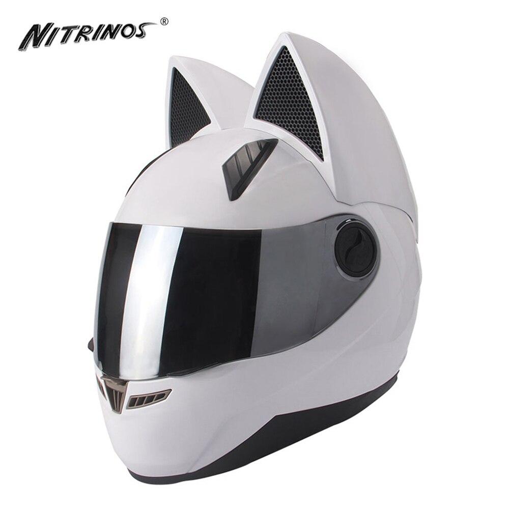 NITRINOS Casco Del Motociclo Delle Donne di Gatto Casco Integrale Viso Casque Moto Casco Moto Casco Capacete Gatto Corna Moto Casco, Bianco