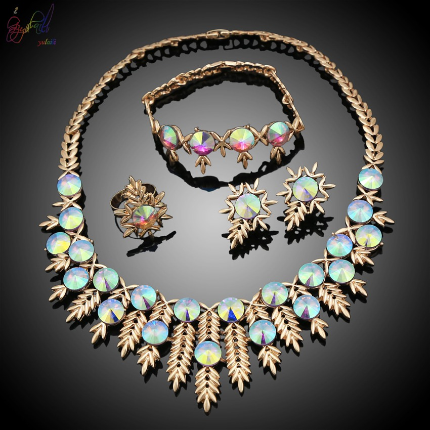Crystal Necklace Indian Jewellery Online Costume Jewelry Sets Two Color Pendants Designer Necklaces Jewelry Sets Aliexpress