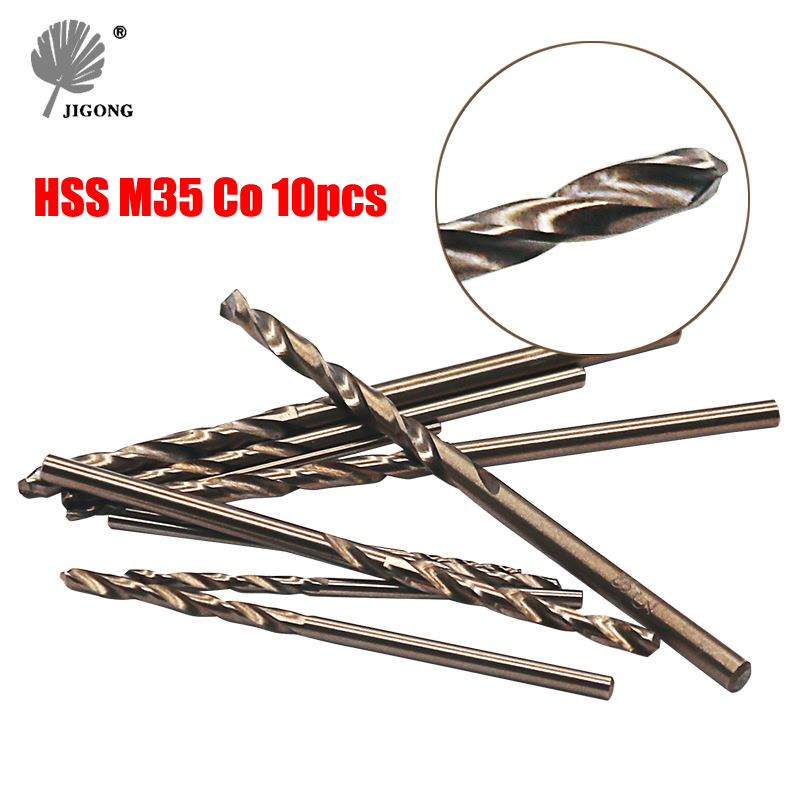 JIGONG 10pcs/Set Twist Drill Bit Set HSS M35 Co Drill Bit 1mm 1.5mm 2mm 2.5mm 3mm used for Steel Stainless Steel 13pcs lot hss high speed steel drill bit set 1 4 hex shank 1 5 6 5mm free shipping hss twist drill bits set for power tools