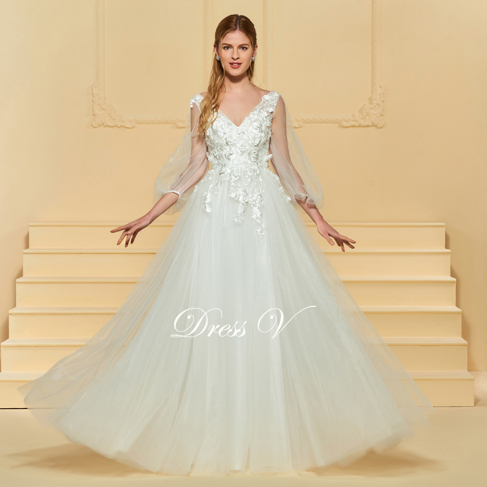 e9c81e0285f01 Dressv elegant a line v neck lace wedding dress long sleeves appliques  floor length bridal outdoor&church wedding dresses