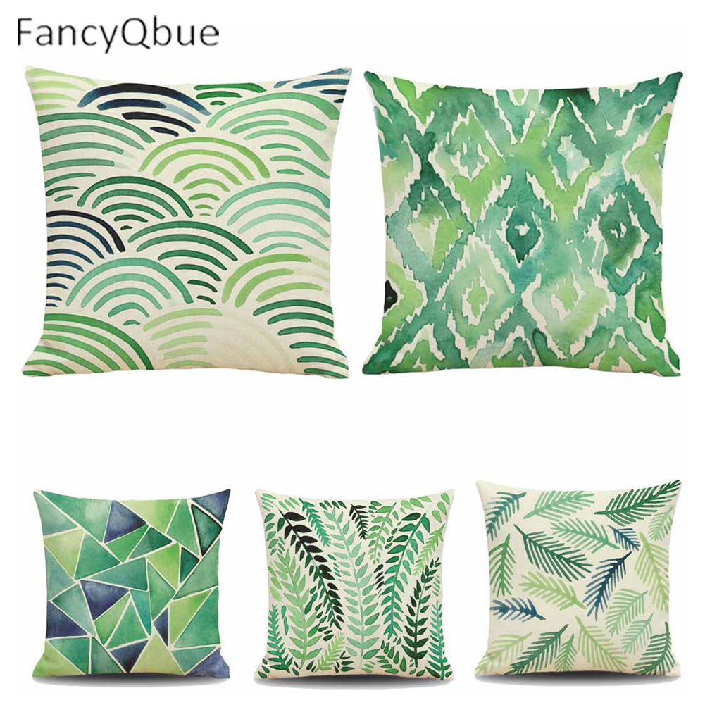 Green Leaves Pillow Cover Cushion Cover Tropical Plants Home Decor Geometry Pattern Linen Throw Pillows Decorative