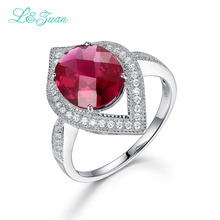 l&zuan 925 Sterling Silver The black friday 6.46ct Ruby Prong Setting Wedding Christmas gift Fine Jewelry Rings For Women