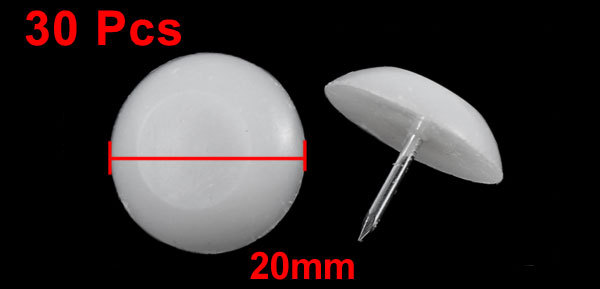 Plastic 20Mm Dia Round Head Metallic Pin Mushroom Shape Furniture Domed Nails 30 Pcs White domed | nail