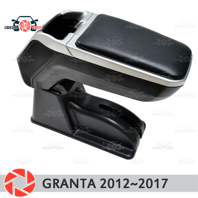 Reposabrazos para Lada Granta 2012 ~ 2018 soporte de brazo de coche consola central caja de almacenamiento de cuero Cenicero accesorios de estilo de coche m2