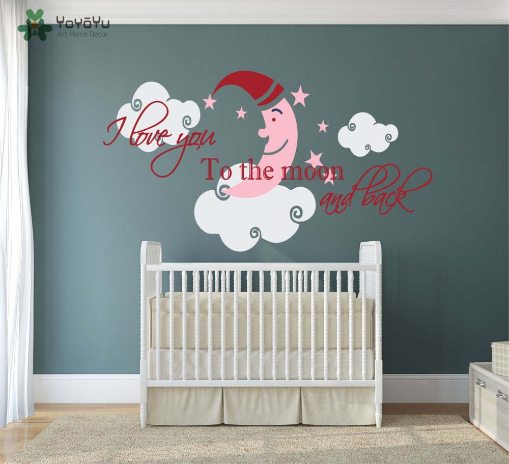 Wall Decal Vinyl Sticker Moon Stars Clouds With Quote I Love You to ...