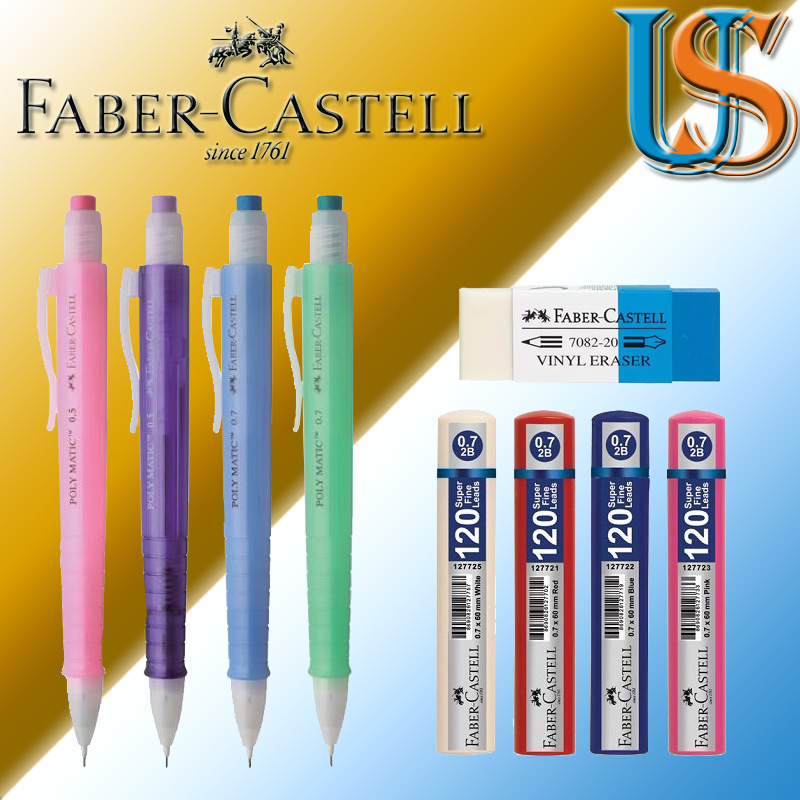 Set of 2 Faber-Castell Blue Pink Mechanical Pencil TRI CLICK 1362 0.5mm Pack