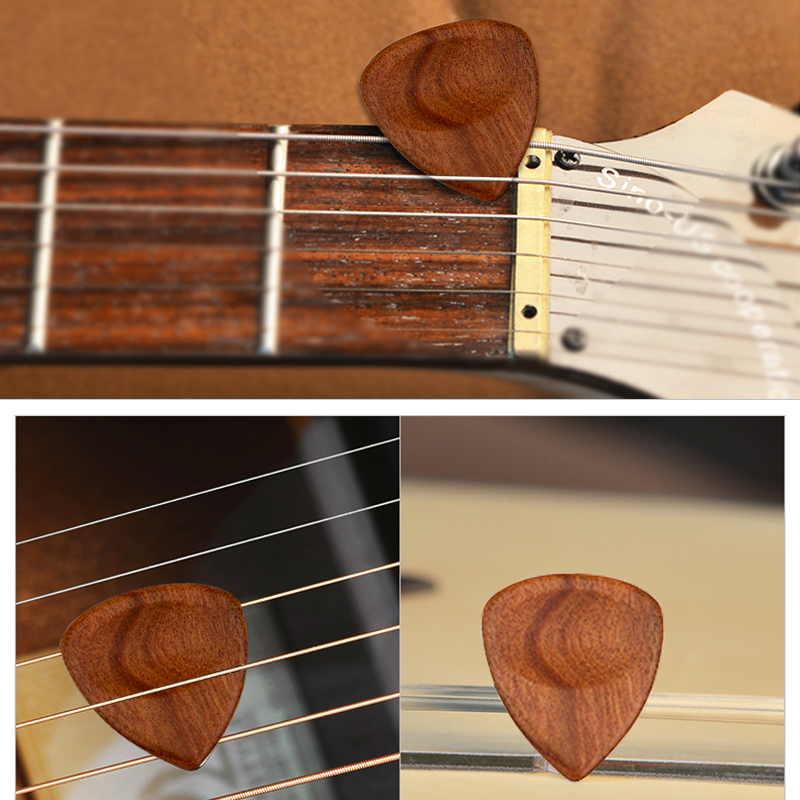 Tooyful 1 Piece Wood Acoustic Guitar Pick Plectrum Hearted Shape Picks For Bass Part Guitar Accessories