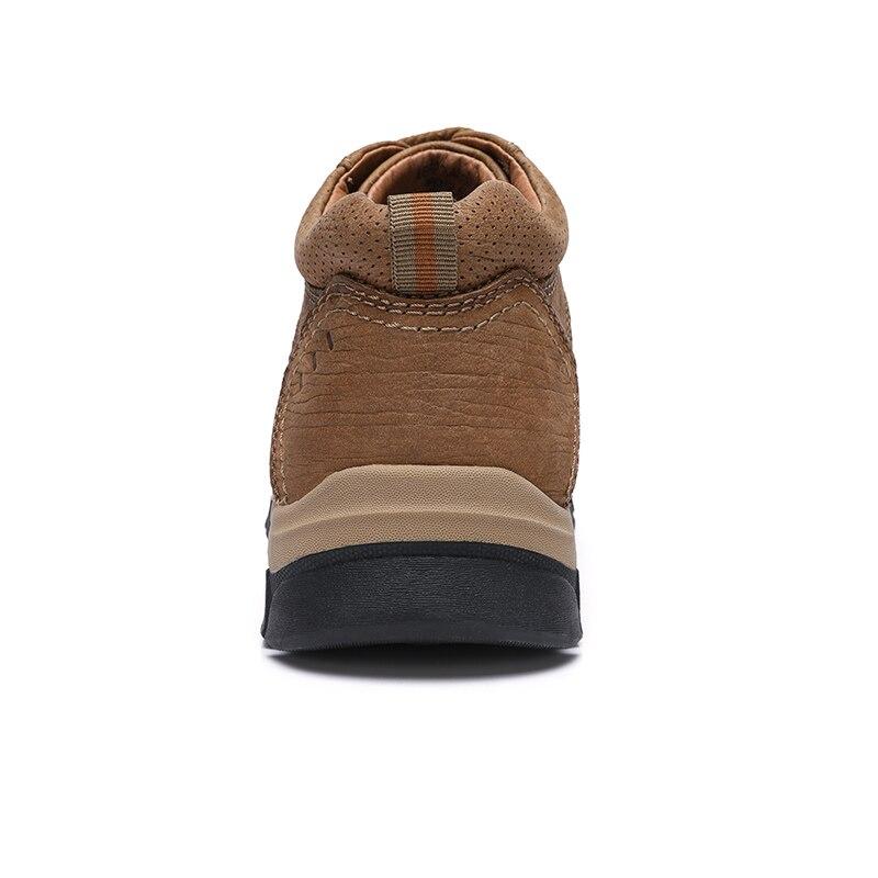الجمل عارضة جلد الرجال الأحذية في الهواء الطلق الشباب الكاحل قصيرة أزياء الرجل الأحذية عدم الانزلاق مركب جلد البقر حذاء رجالي-في أحذية برقبة أساسية من أحذية على  مجموعة 3