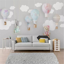 Cartoon animal balloon childrens room background wall professional making murals, wallpaper wholesale, custom poster photo
