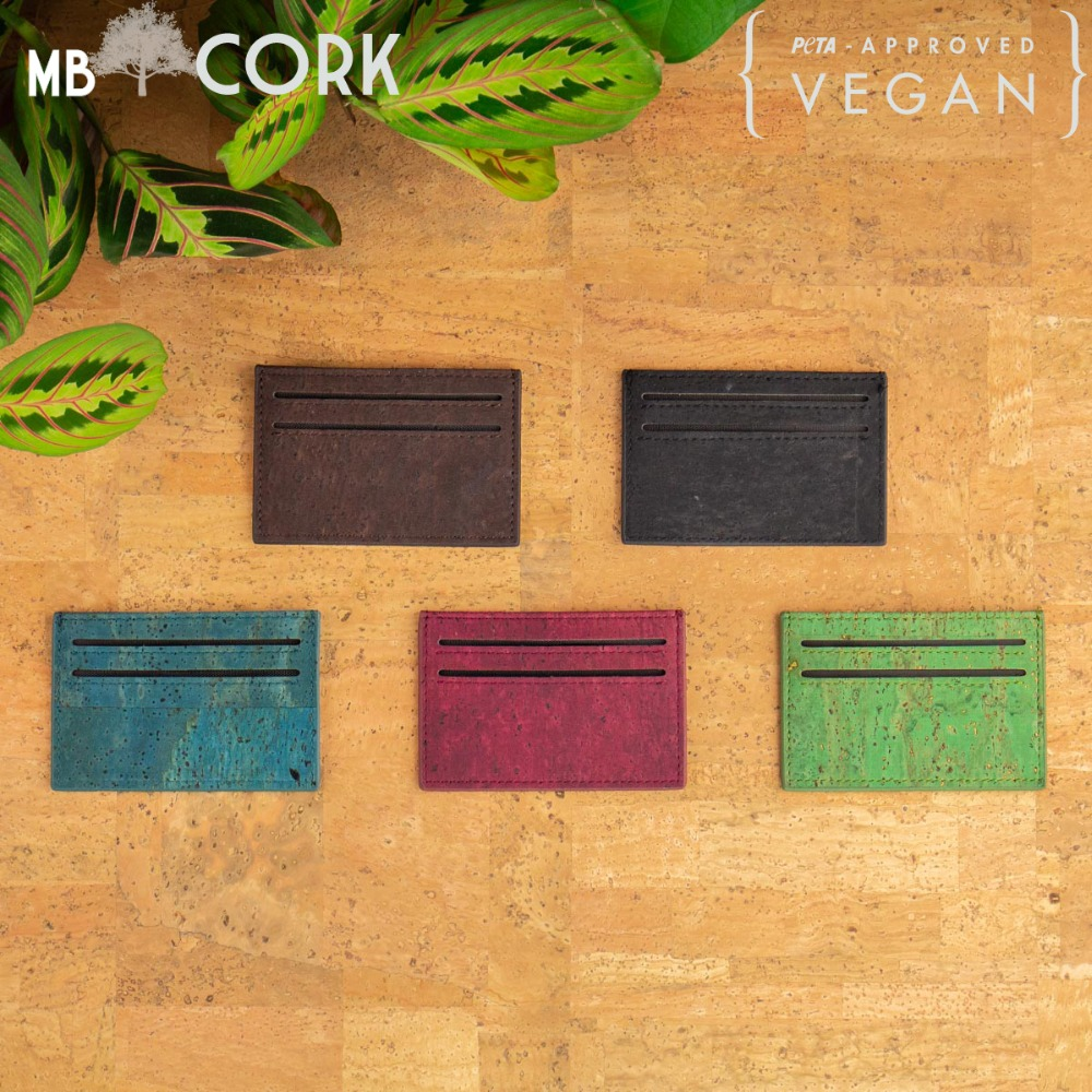 Natural Cork Slim Wallet For Men Cork Vegan Card Holder Handmade Casual Wooden Eco Wallet From Portugal BAG-254-ABCDE