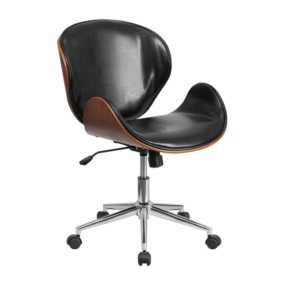 Flash Furniture Mid-Back Natural Wood Swivel Conference Chair in Black Leather рюкзак case logic 17 3 prevailer black prev217blk mid