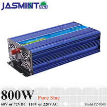 800W 60V/72VDC to 110V/220VAC Off Grid Pure Sine Wave Single Phase Solar or Wind Power Inverter, Surge 1600W
