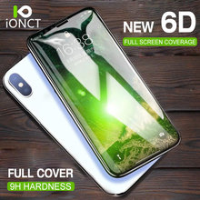 Ionct 6D Curved Edge Protective Glass for Iphone 7 8 plus glass on iphone 6 6s X tempered glass full cover Screen Protector film(China)