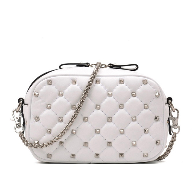 2018 new leather female bag sheepskin embroidery thread rivet camera bag ladies shoulder slung fashion handbag small square bag