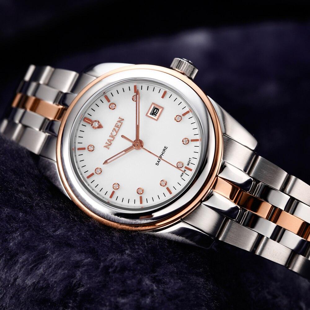 NAKZEN Womens Gold Luxury Quartz Diamond Watch Calendar Display Women Full Steel Wrist Watch Female Clock relogio masculino