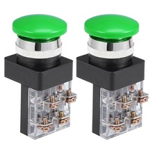 UXCELL 2Pcs Switches 25mm Mounting Hole Momentary Push Button Switch For Control Of Electromagnetic Starter Contactor Green DPST цена и фото