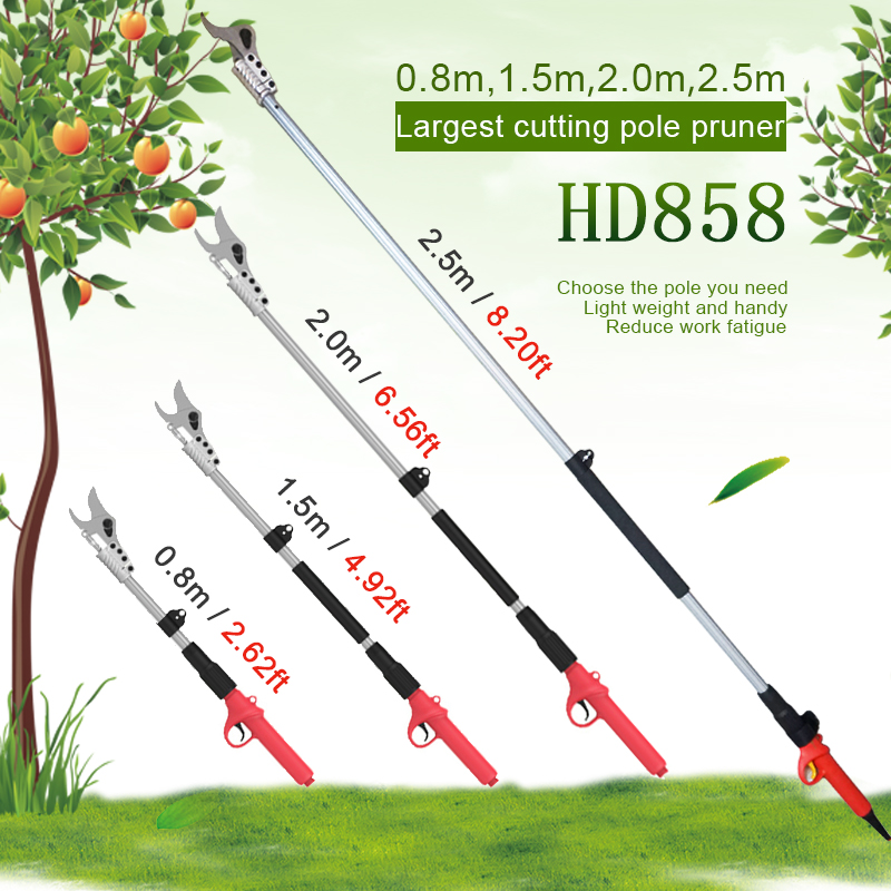 HDP858 0 8m -2 5m long arm electric pruning shears for high tree branch and orchard pruner