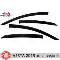 Lada vesta 2015-sedan rain deflector 먼지 보호 자동차 스타일링 장식 액세서리 몰딩 용 윈도우 디플렉터