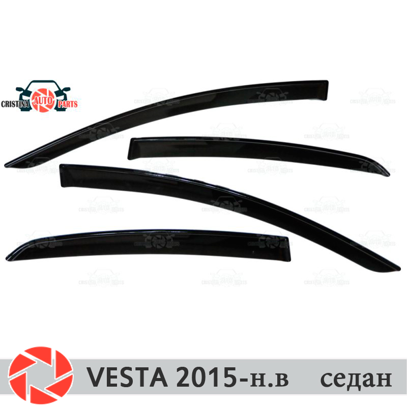 Window deflectors for Lada Vesta 2015- Sedan rain deflector dirt protection car styling decoration accessories molding windshield deflectors for volkswagen polo sedan 2009 2019 windshield seal protection aerodynamic rain car styling cover pad