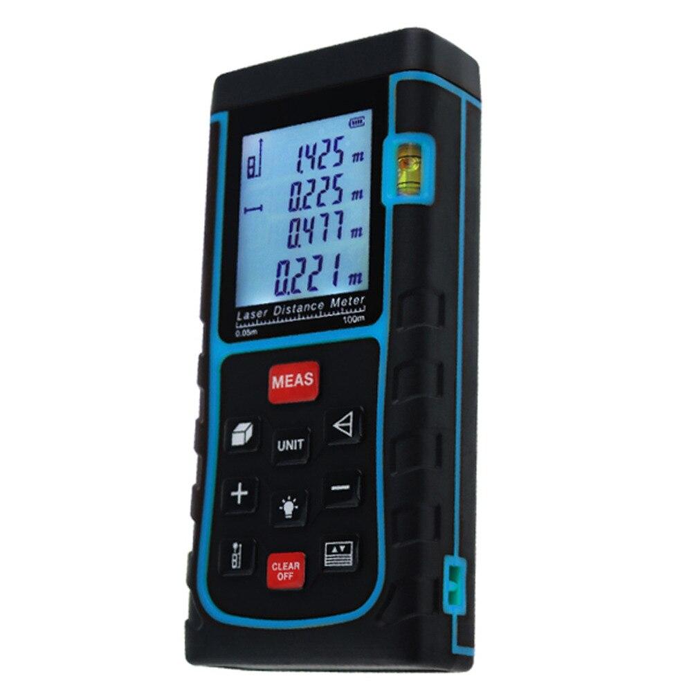 Wilskrachtig Digitale Laser Afstand Gebied Volume Pythagoras W/waterpas Industriële Bouw Gebruik Measurer 100 Meter Range Finder Tool