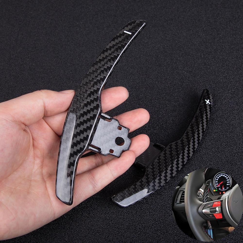 Pour BMW M2 F80 M3 F82 F83 M4 F10 M5 F12 M6 F15 X5M F16 X6M En Fiber De Carbone Véritable Volant Paddle Extension manette de vitesse remplacer