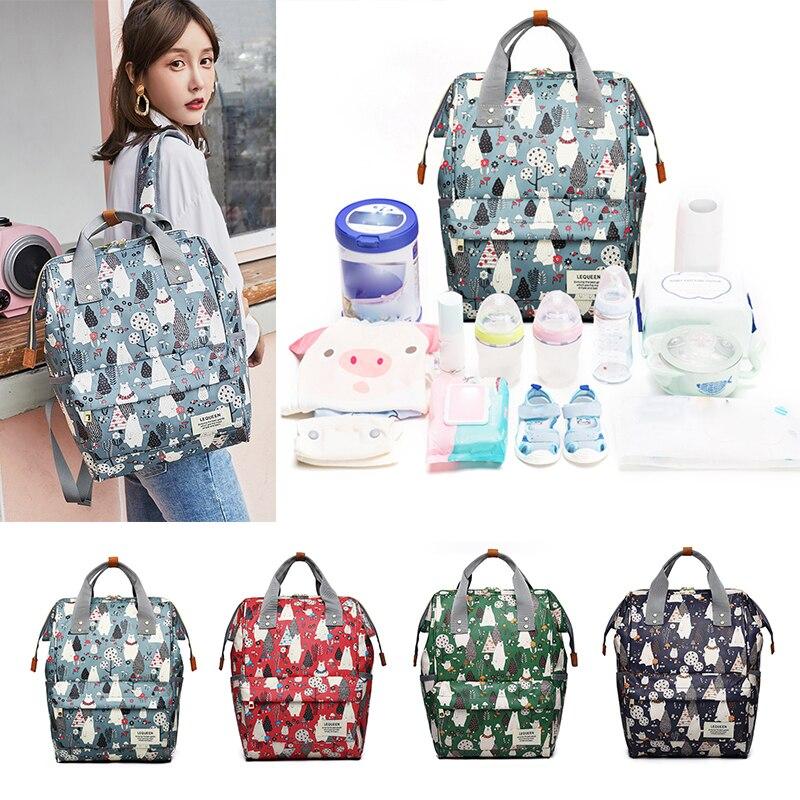 Mummy Diaper Nappy Bag Baby Diaper Backpack Diaper Bag Backpack Cartoon Large Capacity Outdoor Zipper Waterproof Nursing Bag