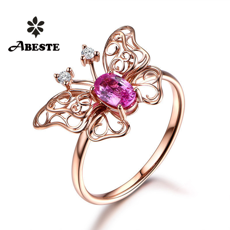 ANI 18K Rose Gold (AU750) Women Wedding Diamond Ring Certified Natural Pink Sapphire Butterfly Shape Engagement Gemstone Ring new pure au750 rose gold love ring lucky cute letter ring 1 13 1 23g hot sale