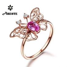 все цены на ANI 18K Rose Gold (AU750) Women Wedding Diamond Ring Certified Natural Pink Sapphire Butterfly Shape Engagement Gemstone Ring онлайн
