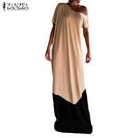 S 5XL ZANZEA Fashion Women Summer One Shoulder Short Sleeve Splice Casual Party Maxi Robe Long