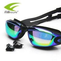 FEIUPE Mężczyźni Kobiety Swim Swim Okulary Anti Fog Ochrona UV Okulary Profesjonalne Wodoodporna Adult Swim Gogle Z D807 Earplug